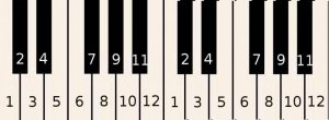 Learn how to play piano online - Notes numbered counting up from C